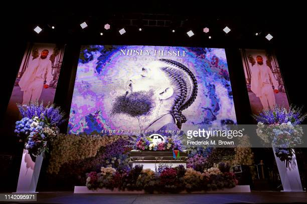 The casket and display is seen prior to Nipsey Hussle's Celebration of Life at STAPLES Center on April 11 2019 in Los Angeles California Nipsey...