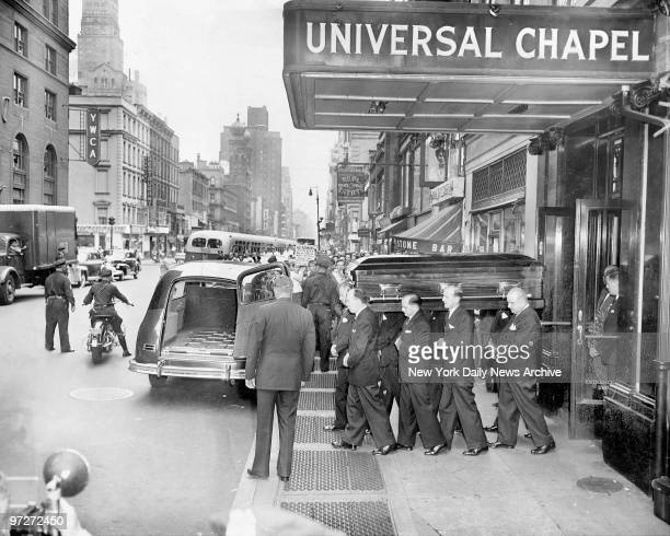 The casket bearing the remains of Babe Ruth is borne from Universal Funeral Chapel at 52d St and Lexington Ave to hearse The body was taken to Yankee...