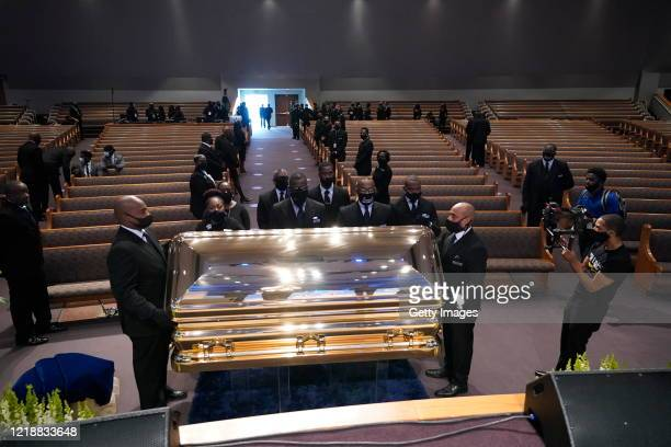 The casket bearing the remains of George Floyd is placed in the chapel for his funeral service at the Fountain of Praise church June 9 2020 in...