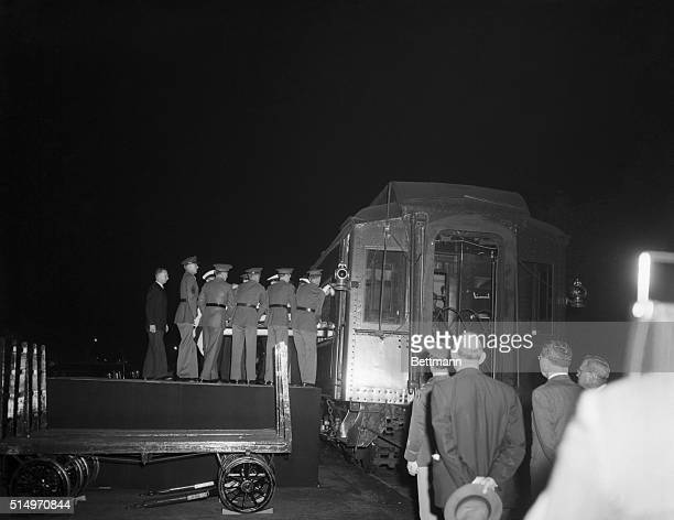 The casket bearing the remains of the late President Franklin D Roosevelt is lifted onto the train which will bear him to his last resting place in...
