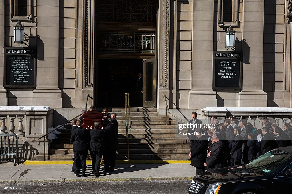 The casket carrying actor Philip Seymour Hoffman, who died ...