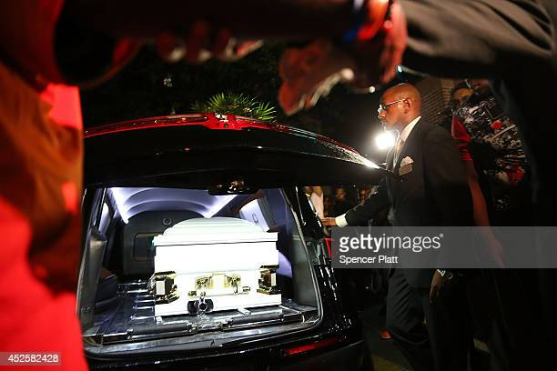 The casket carrying Eric Garner is brought out after his funeral outside the Bethel Baptist Church on July 23 2014 in New York City New York Mayor...