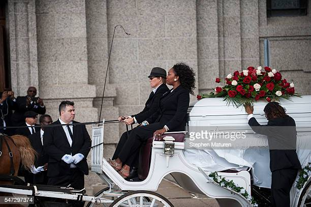 The casket carrying Philando Castile arrives on horse drawn carriage outside his funeral at the Cathedral of St Paul on July 14 2016 in St Paul...