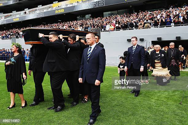 The casket carrying the body of Jonah Lomu is carried onto the field during the Public Memorial for Jonah Lomu at Eden Park on November 30 2015 in...