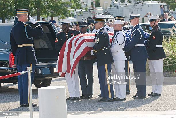 The casket carrying the body of Senator Edward M Kennedy arrives at the John F Kennedy Library in the Dorchester section of the city of Boston MA on...
