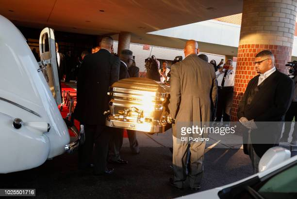 The casket containing the remains of soul music icon Aretha Franklin is carried into Greater Grace Temple for the singer's funeral on August 31 2018...