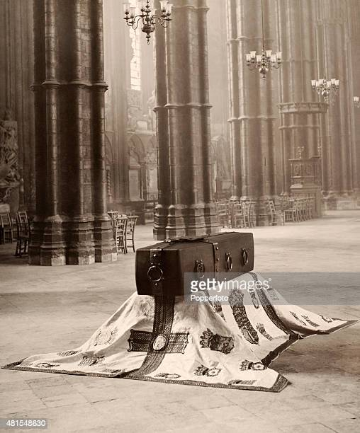The casket in which the body of the Unknown Warrior was laid to rest in Westminster Abbey London following World War One on 11th November 1920