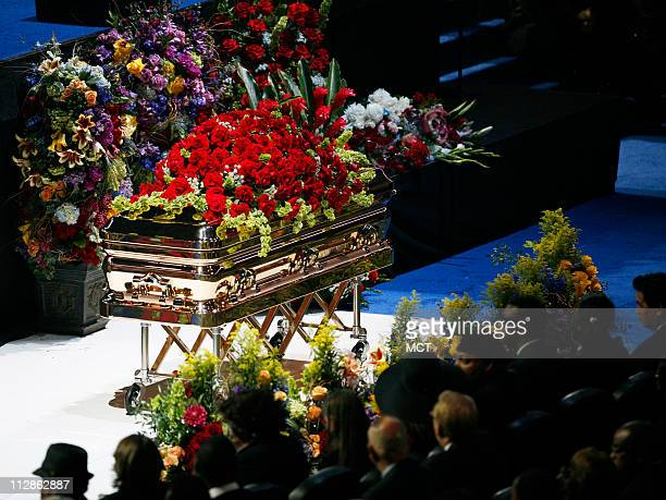 The casket is seen during memorial services for pop star Michael Jackson at the Staples Center in Los Angeles California Tuesday July 7 2009