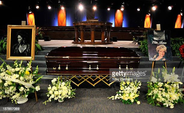 The casket is viewed during the funeral service of Etta James on January 28 2012 in Gardena California