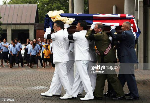 The casket leaves St Marys church following the State Funeral for Sir Edmund Hillary at St Marys Cathedral on January 22 2008 in Auckland New Zealand...