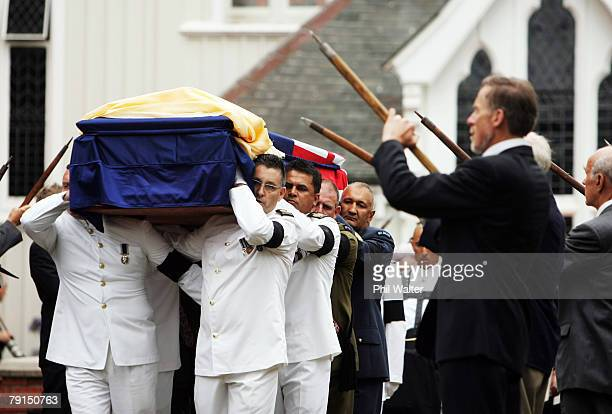 The casket leaves St Marys church under a guard of honour formed by members of the New Zealand Alpine Club following the State Funeral for Sir Edmund...