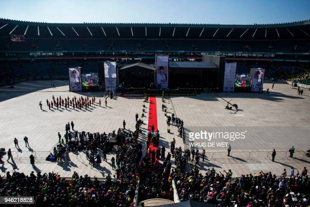 The casket of anti-Apartheid icon Winnie Madikizela Mandela is brought into the Orlando Stadium in the township of Soweto, during her funeral,...