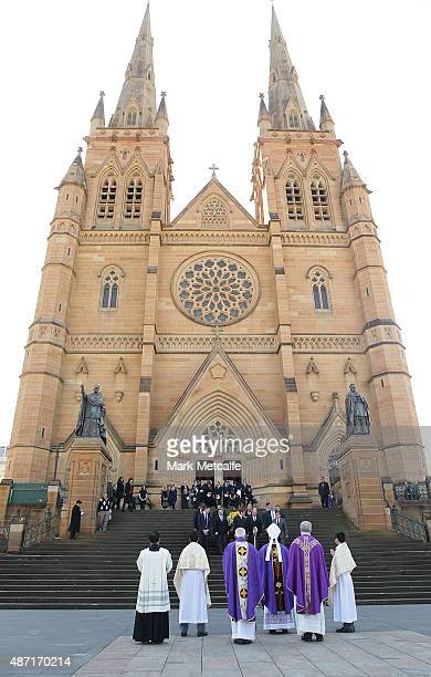 The casket of Bart Cummings is carried outside following the State Funeral Service for Australian horse racing trainer Bart Cummings at St Mary's...