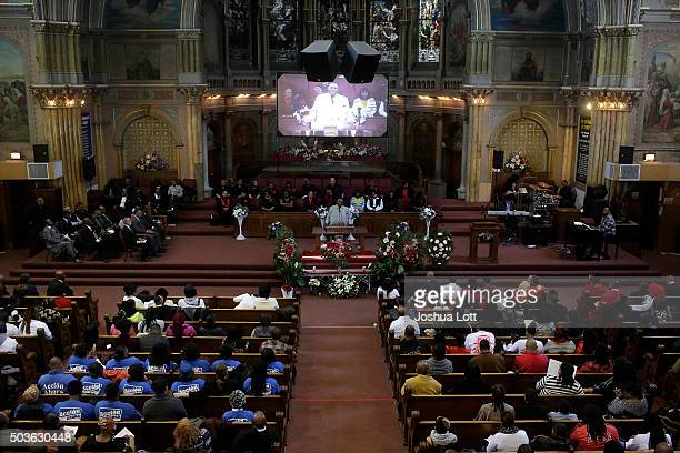 The casket of Bettie Jones is surrounded by flowers during her funeral at New Mount Pilgrim Missionary Baptist Church January 6 2016 in Chicago...