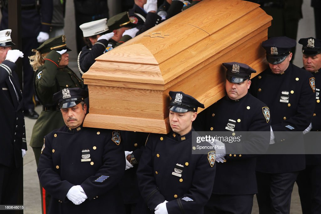 The casket of former New York City Mayor Ed Koch is brought out by members of the New York Police Department following funeral services at Manhattan's Temple Emanu-El on February 4, 2013 in New York City.The iconic former New York mayor passed away on February 1, 2013 in New York City at age 88. Ed Koch was New York's 105th mayor and ran the city from 1978-89. He was often outspoken and combative and has been credited with rescuing the city from near-financial ruin during a three-term City Hall run.