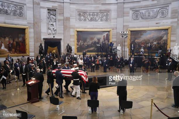 The casket of former Rep. John Lewis arrives for a memorial service in the Capitol Rotunda on July 27, 2020 in Washington, DC. Lewis, a civil rights...