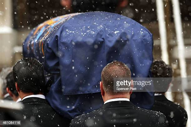 The casket of former threeterm governor Mario Cuomo arrives at St Ignatius Loyola Church on January 6 2015 in New York City Mario Cuomo who was once...