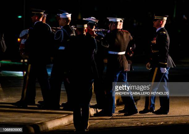 The casket of former US President George HW Bush is carried by an honor guard into the St Martins Episcopal church to lie in repose in Houston Texas...