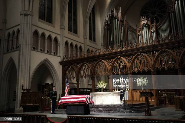 The casket of former US President George HW Bush sits on the repose at St Martin's Episcopal Church in Houston Texas US on Wednesday Dec 5 2018 Bush...