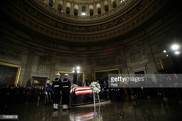 The casket of former US President Gerald R Ford lies in state in the Rotunda of the United States Capitol for an official state funeral December 30...