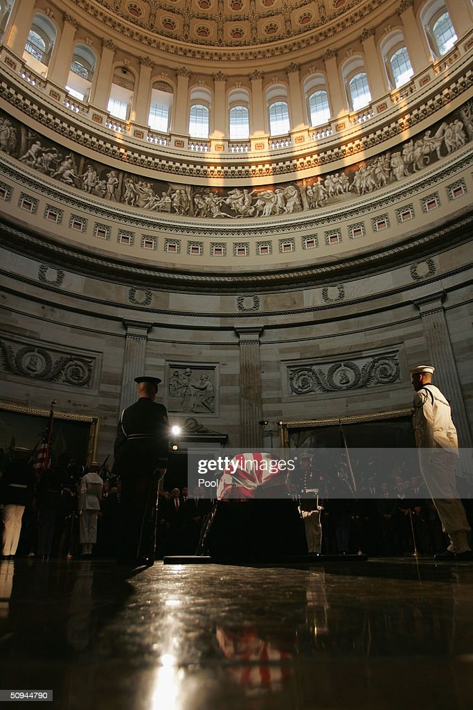The casket of former U.S. president Ronald Reagan is placed in the rotunda of the U.S. Capitol during a state funeral on Capitol Hill June 9, 2004 in Washington, DC. Reagan's body will lie in state throughout the night until June 10.
