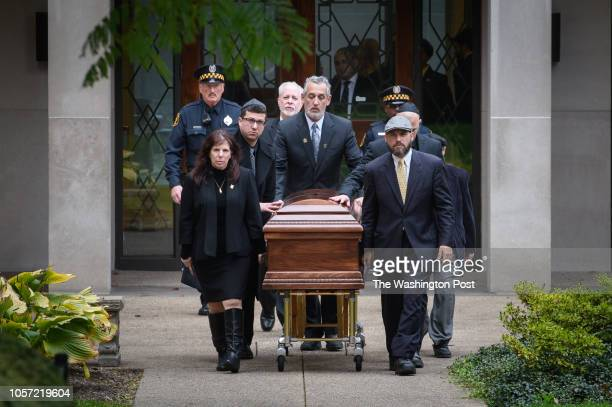 The casket of Irving Younger one of the victims of the Tree of Life Synagogue shooting is taken out of Rodef Shalom Congregation after funeral...