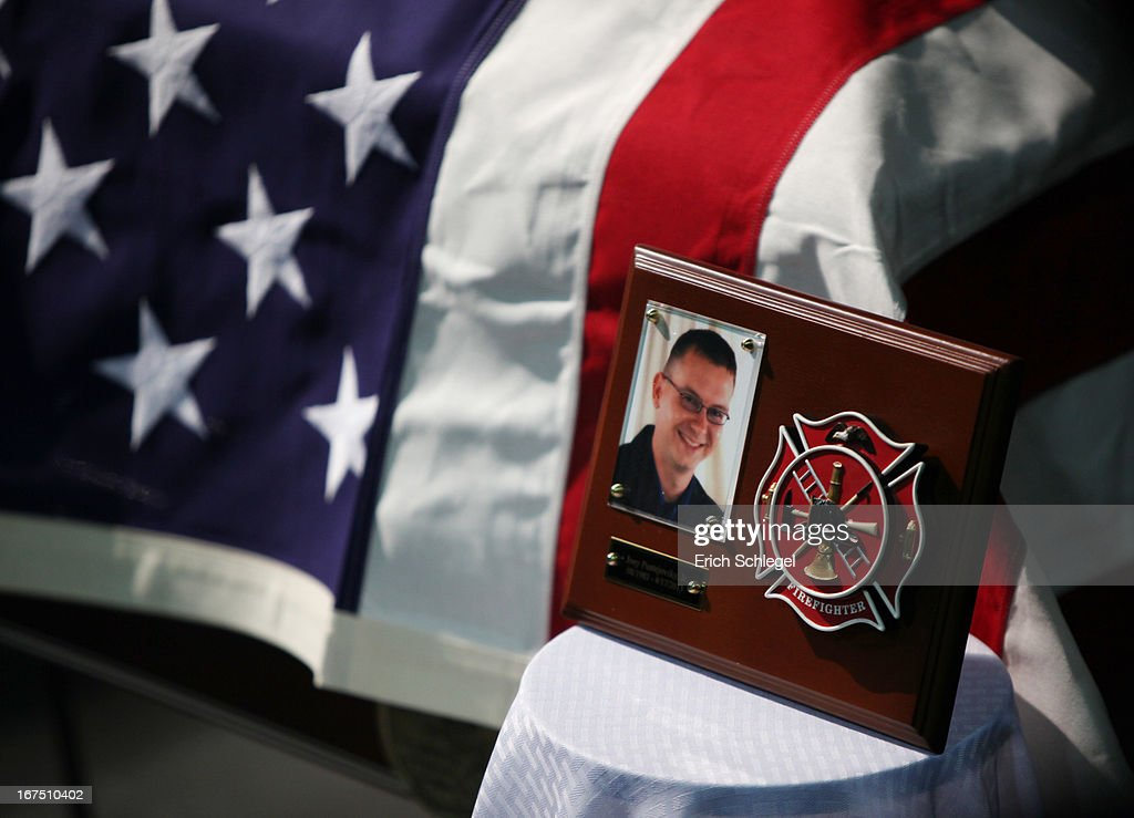 The casket of Joseph 'Joey' Frank Pustejovsky, Jr. of the West Volunteer Fire Department is shown at the West memorial service at Baylor University on April 25, 2013 in Waco, Texas. The memorial service honored the twelve volunteer firefighters that lost their lives at the fertilizer plant explosion in West, Texas last week.