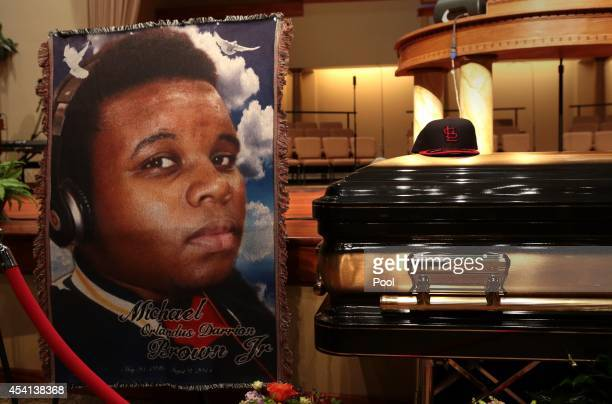 The casket of Michael Brown sits inside Friendly Temple Missionary Baptist Church awaiting the start of his funeral on August 25, 2014 in St. Louis...