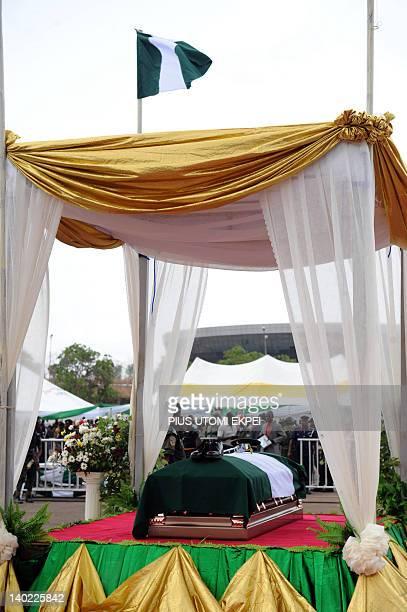 The casket of Nigeria's seccessionist leader Odumegwu Ojukwu lies in state during the national interdenominational funeral rites at Michael Opkara...