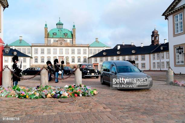 The casket of Prince Henrik is transported from Fredenborg Palace to Amalienborg Palace in Copenhagen on February 15 2018 His Royal Highness Prince...