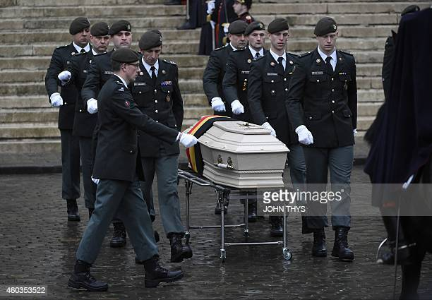 The casket of queen dowager Fabiola arrives at the Cathedral of St Michael and St Gudula in Brussels on December 12 2014 Born in 1928 as Fabiola de...