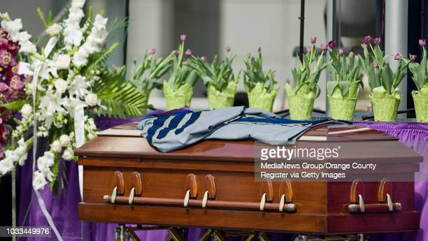 The casket of Rev. Robert H. Schuller is adorned with his robe during services at Christ Cathedral in Garden Grove Monday. ///ADDITIONAL INFORMATION:...
