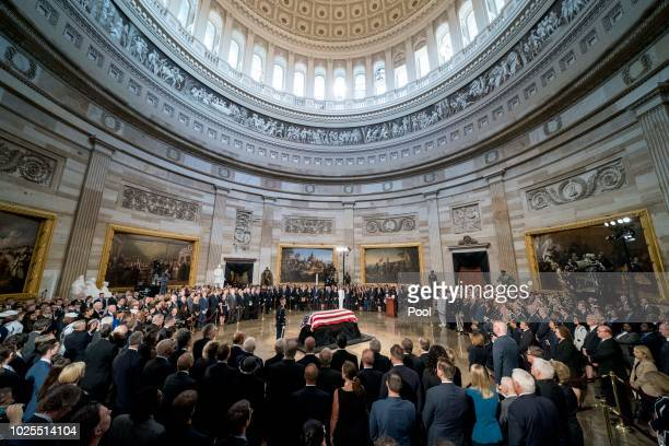 The casket of Sen John McCain RAriz lies in state at the US Capitol on August 31 2018 in Washington DC The late senator died August 25 at the age of...