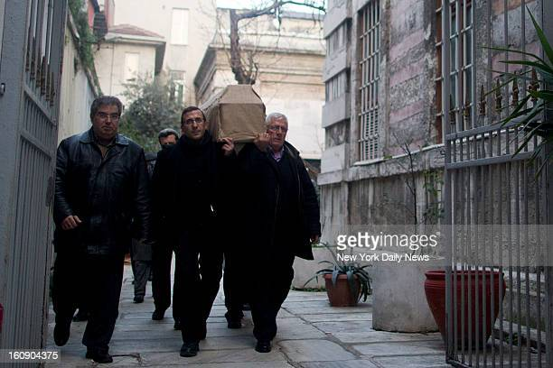 The casket of Staten Island mom Sarai Sierra is carried through Galatasaray a neighborhood in Istanbul to a hearse that will take the body back to...