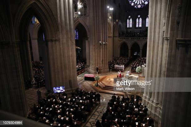 The casket of US Sen John McCain sits in the nave during the funeral service at the National Cathedral on September 1 2018 in Washington DC The late...