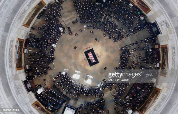 The casket of US Senator John McCain lies in state at the US Capitol Rotunda in Washington DC on August 31 2018