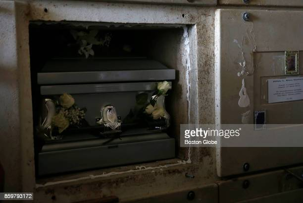 The casket of Victor Ruiz Ramos is entered into a mausoleum during his funeral service in Corozal Puerto Rico on Oct 02 2017 After Hurricane Maria...