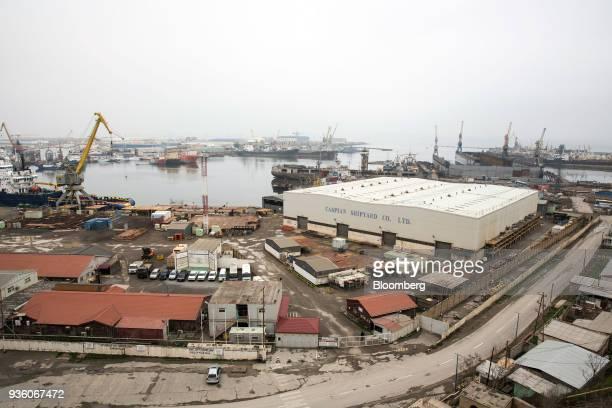 The Caspian Shipyard Co shipyard stands in Baku Azerbaijan on Sunday March 18 2018 Two years after descending into junk Azerbaijan's shortest path to...