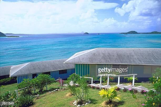 The Cassada Bay Resort's terrace on the island of Carriacou Januray 3, 2000 offers a stunning view of the Grenadines in the Caribbean. The hotel's...