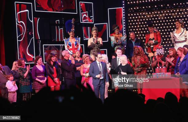 The cast ad creative team celebrate onstage as the hit musical Kinky Boots celebrates it's 5th Anniversary on Broadway at The Hirshfeld Theatre on...