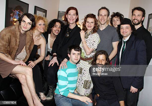 The cast and band pose backstage at a workshop for the new musical 'Arts and Crafts' at Joes Pub on March 9 2011 in New York City