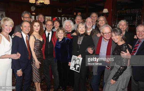 The cast and company pose at the 50th Anniversary Reunion of the cast of the legendary Broadway Musical George M at Sardis on April 16 2018 in New...