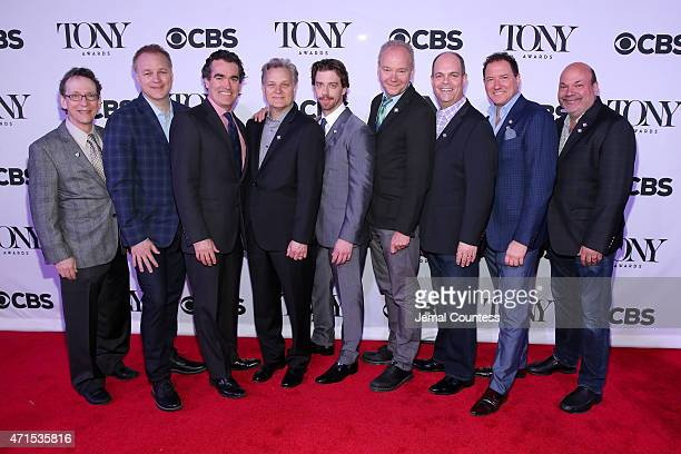 The cast and creative of Something Rotten attend the 2015 Tony Awards Meet The Nominees Press Reception at the Paramount Hotel on April 29 2015 in...