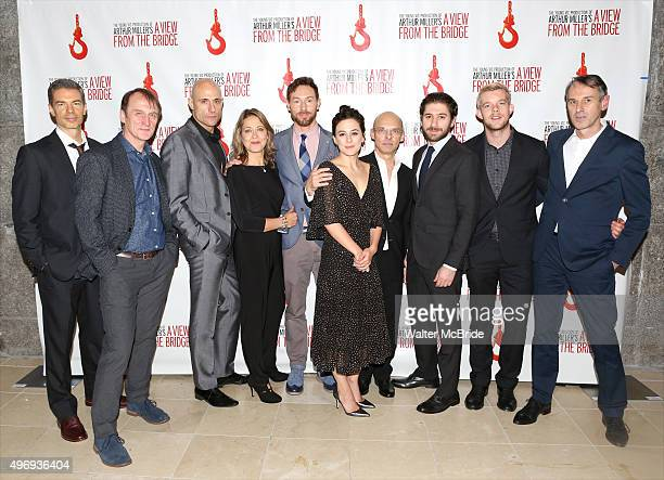 The cast and creative team attending the Broadway Opening Night Party for 'A View From The Bridge' at Gustavino's on November 12 2015 in New York City