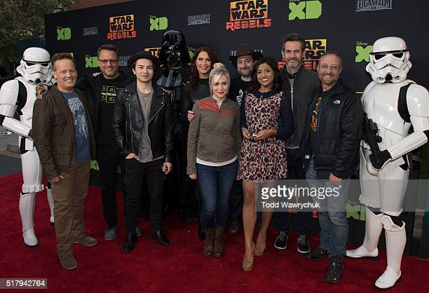 "The cast and creative team of Disney XD's popular animated saga ""Star Wars Rebels"" attend a screening of the highly anticipated season two finale on..."