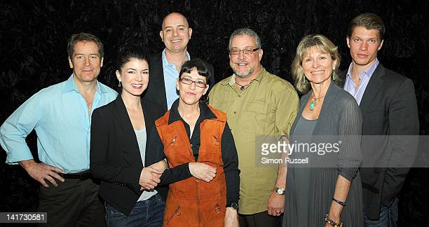 The cast and creative team of the OffBroadway play Psycho Therapy actor Laurence Lau Canadian actress Gabrielle Miller playwright Frank Strausser...