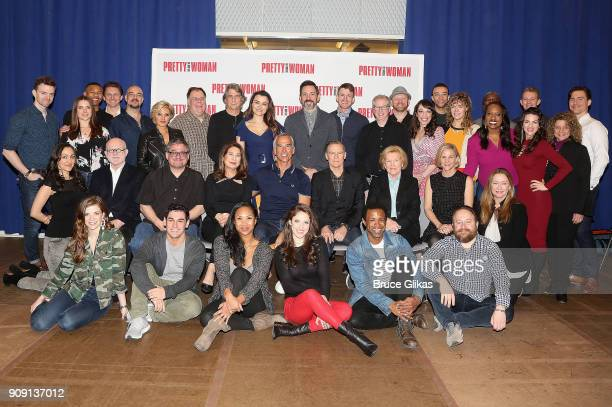 The cast and creative team pose at a photo call for the new broadway bound musical based on the hit iconic film Pretty Woman at The New 42 Studios on...