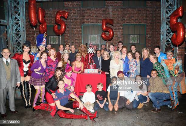 The cast and creative team pose backstage as the hit musical Kinky Boots celebrates it's 5th Anniversary on Broadway at The Hirshfeld Theatre on...