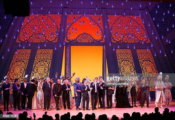 The cast and creatives of Aladdin take a bow during curtain call at the the Aladdin On Broadway Opening Night at New Amsterdam Theatre on March 20...