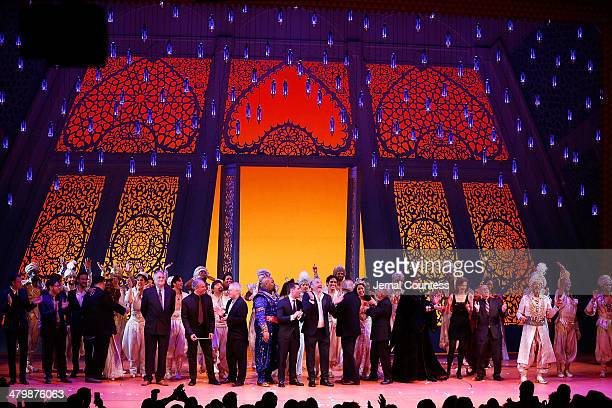 The cast and creatives of Aladdin take a bow during curtain call at the the 'Aladdin' On Broadway Opening Night at New Amsterdam Theatre on March 20...
